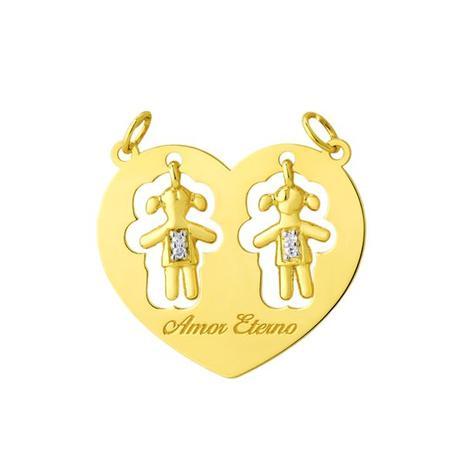 Pingente de Ouro 18k Duas Meninas Dentro do Coração pi17153 - Joiasgold ebfdc89bb7
