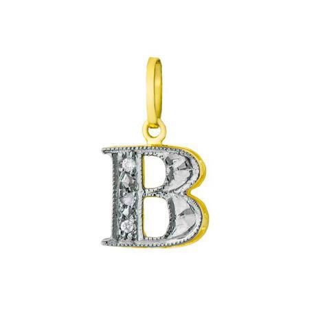 dce6aa2f25222 Pingente de Ouro 18k Letra B com Diamantes pi16517 - Joiasgold ...