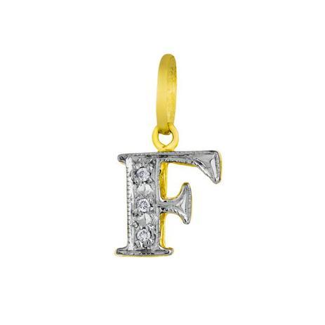 9e7cb510f8d11 Pingente de Ouro 18k Letra F com Diamantes pi16519 - Joiasgold ...