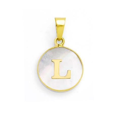 0a04fe2a410d7 Pingente de Ouro 18k Letra L com Madrepérola pi16857 - Joiasgold ...