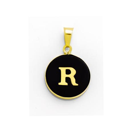 pingente de ouro 18k letra r com onix pi16889 joiasgold pingente. 1055e2d20c