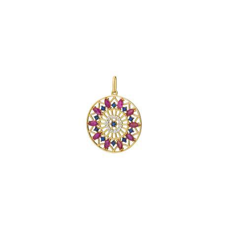 c26ea482761 Pingente de Ouro 18k Mandala com Safira