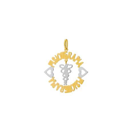 547525c5c5a Pingente de Ouro 18k Mandala Formatura Nome Fisioterapia pi18601 - Joiasgold