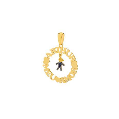 c50529b4d63 Pingente de Ouro 18k Mandala Nome Até 13 Letras Menino Safira pi18596 -  Joiasgold