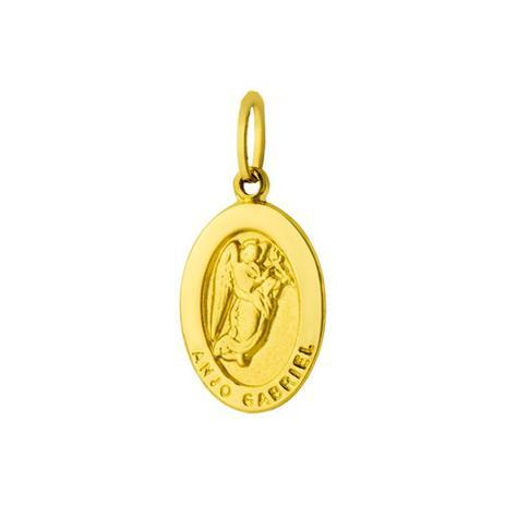 Pingente de Ouro 18k Medalha de Anjo Gabriel Oval pi14477 - Joiasgold e70bbee0e1