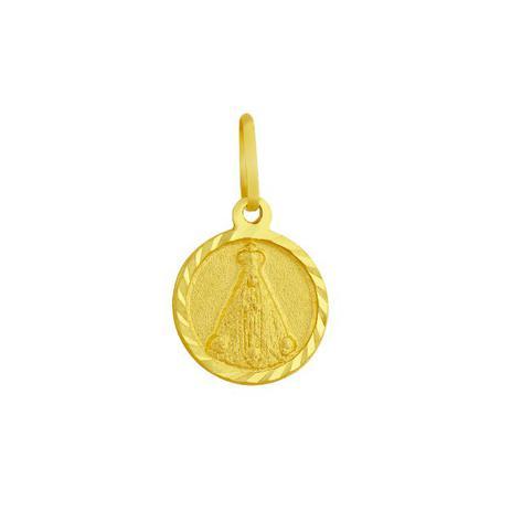 Pingente de Ouro 18k Medalha de Nossa Senhora Aparecida pi06487 - Joiasgold bf2824e891