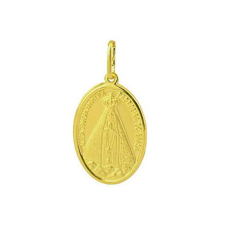 348fc8378d09c Pingente de Ouro 18k Medalha de Nossa Senhora Aparecida pi07854 - Joiasgold
