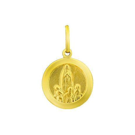 Pingente de Ouro 18k Medalha de Nossa Senhora de Fátima pi14558 - Joiasgold ee36a694c3