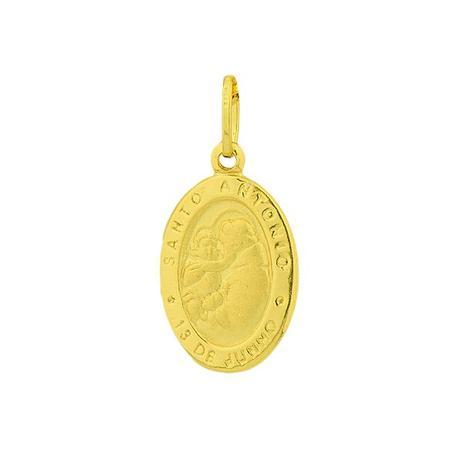 Pingente de Ouro 18k Medalha de Santo Antônio Oval pi03053 - Joiasgold 1368bd60c2