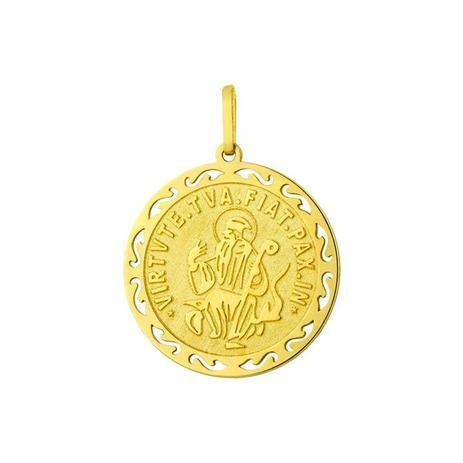Pingente de Ouro 18k Medalha de São Bento pi16169 - Joiasgold ... e442c97669