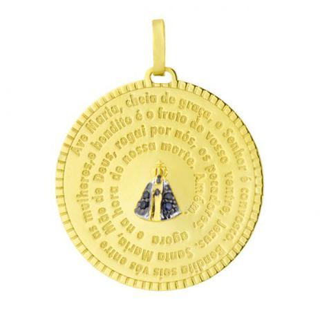 Pingente de Ouro 18k Medalha N. Sra. Aparecida com Safira pi07002 -  Joiasgold 92d6db5b06