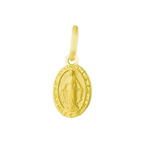Pingente de Ouro 18k Medalha Nossa Senhora das Graças pi16306 - Joiasgold 9aec75b694