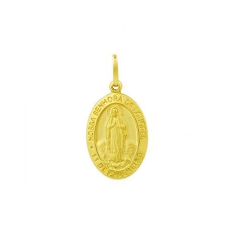 Pingente de Ouro 18k Medalha Nossa Senhora de Lourdes pi14590 - Joiasgold aaf5cabafe