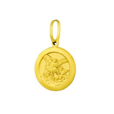 2e0e7987fe405 Pingente de Ouro 18k Medalha São Miguel Arcanjo Redondo pi16441 - Joiasgold