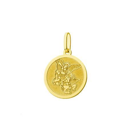 Pingente de Ouro 18k Medalha São Miguel Arcanjo Redondo pi18164 - Joiasgold 110e411629
