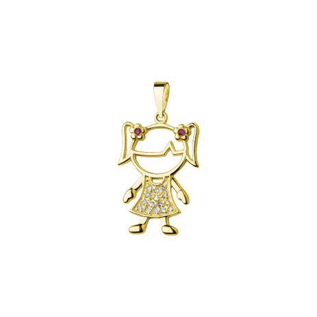 4c10be3a6010d Pingente de Ouro 18k Menina com Diamante e Rubis pi17742 - Joiasgold ...