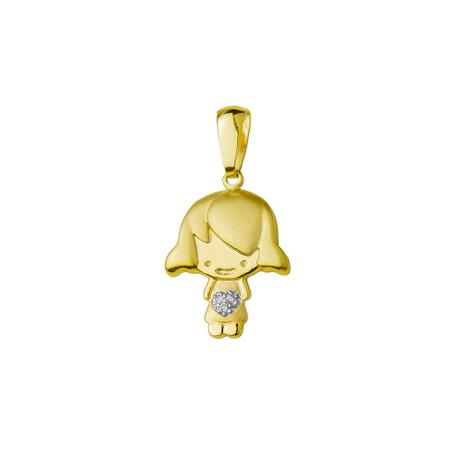 Pingente de Ouro 18k Menina Coração com Diamantes pi17867 - Joiasgold 6cbb2e6682