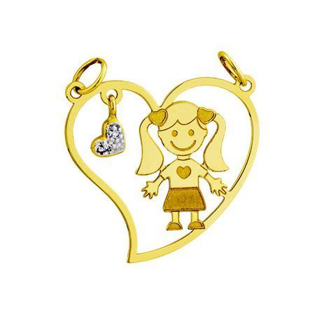 Pingente de Ouro 18k Menina Dentro do Coração Vazado pi16155 - Joiasgold cfef0a55fa