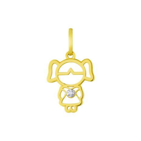 72bb0b1f94912 Pingente de Ouro 18k Menina Vazada com Diamante pi17161 - Joiasgold ...