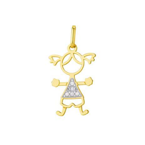 8c6b78815fd06 Pingente de Ouro 18k Menina Vazada com Diamante pi17203 - Joiasgold ...