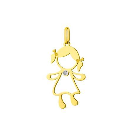 3df9acbc0897b Pingente de Ouro 18k Menina Vazada Grande com Diamante pi17077 - Joiasgold