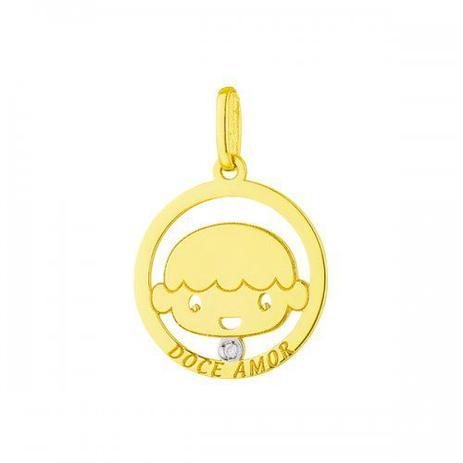 eac560188cae9 Pingente de Ouro 18k Menino Redondo com Diamante pi17433 - Joiasgold ...