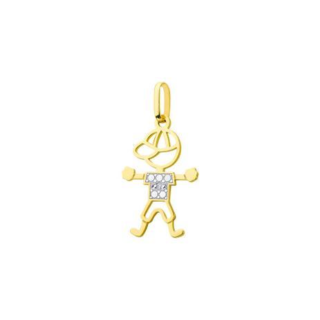 Pingente de Ouro 18k Menino Vazado com Diamante pi17204 - Joiasgold ... 6a58e53bc38d1