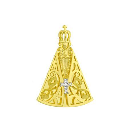 Pingente de Ouro 18k Nossa Senhora Aparecida com Diamantes pi16266 -  Joiasgold 80f2668d60