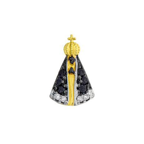 4b46c0c8b012d Pingente de Ouro 18k Nossa Senhora Aparecida com Safiras pi07441 - Joiasgold