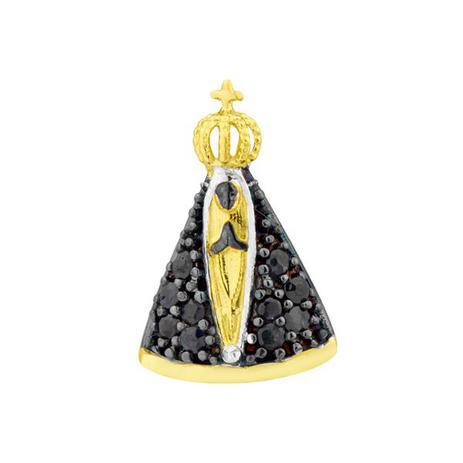 7a722f1d93078 Pingente de Ouro 18K Nossa Senhora Aparecida com Safiras pi07791 - Joiasgold