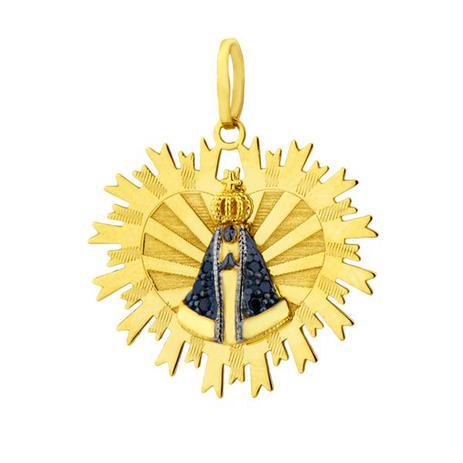 Pingente de Ouro 18k Nossa Senhora Aparecida com Safiras pi14526 - Joiasgold 3966de9473