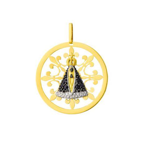 2c80fc01b69de Pingente de Ouro 18k Nossa Senhora Aparecida com Safiras pi17001 - Joiasgold