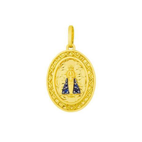 9e277c5188e2b Pingente de Ouro 18k Nossa Senhora Aparecida com Safiras pi17149 - Joiasgold