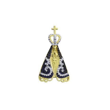 Pingente de Ouro 18k Nossa Senhora Aparecida com Zircônia pi18107 -  Joiasgold 488c6971e2