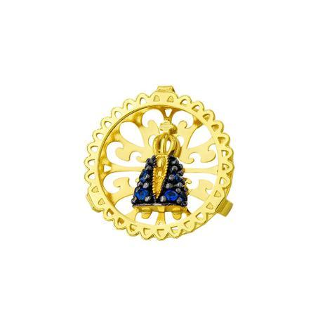 Pingente de Ouro 18k Nossa Senhora Aparecida com Zircônias pi17564 -  Joiasgold 3c60a3f994