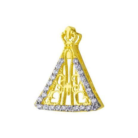 572472b5372cc Pingente de Ouro 18k Nossa Senhora Aparecida Vazada com Zircônias pi17 -  Joiasgold
