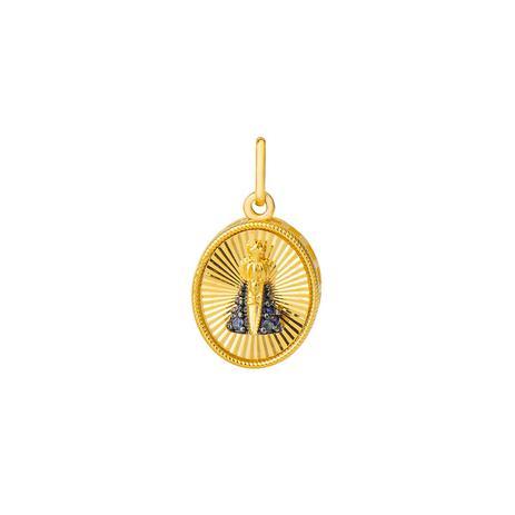 Pingente de Ouro 18k Nossa Sra Aparecida com Safira pi18406 - Joiasgold 18cf522d9a