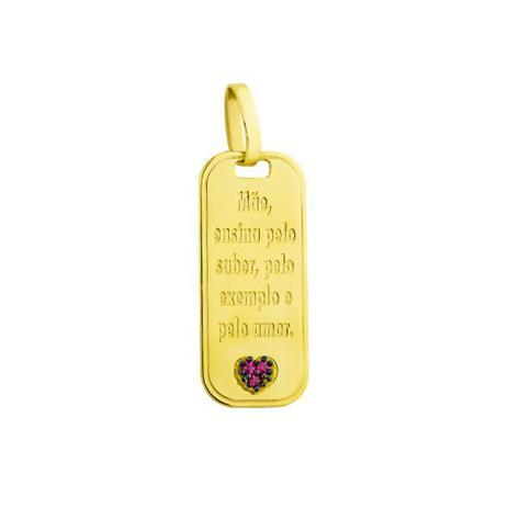 fe801db3738 Pingente de Ouro 18k Placa Frase Mãe e Rubi pi16182 - Joiasgold ...