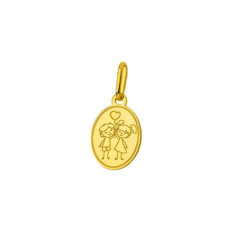 d3372df8a18cd Pingente de Ouro 18k Placa Menino e Menina com Coração pi18426 - Joiasgold