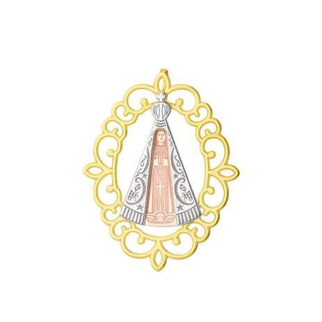 Pingente de Ouro 18k Placa Nossa Senhora Aparecida Tricolor G pi17144 -  Joiasgold 58c425ae72
