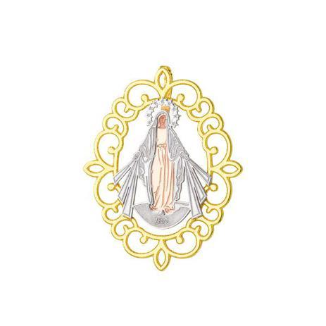 49c56622c668f Pingente de Ouro 18k Placa Nossa Senhora das Graças Trabalhada Tricolo -  Joiasgold