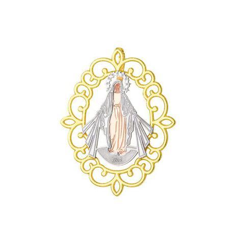 Pingente De Ouro 18k Placa Nossa Senhora Das Gracas Trabalhada
