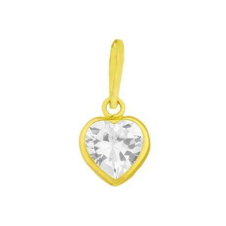 b0862b4d0dae6 Pingente de Ouro 18k Ponto de Luz com Zircônia Coração pi15583 - Joiasgold