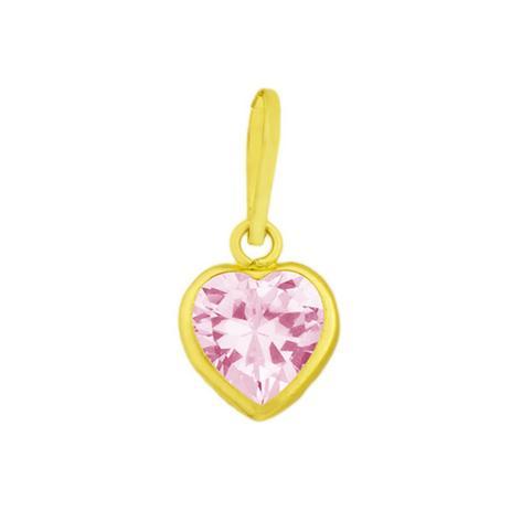 fc41353bba34f Pingente de Ouro 18k Ponto de Luz Zircônia Rosa de Coração pi18660 -  Joiasgold