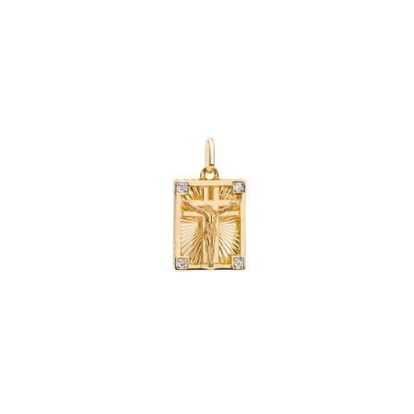Pingente de Ouro 18k Retangular com Crucifixo e Diamantes pi18544 -  Joiasgold 135f92e55a