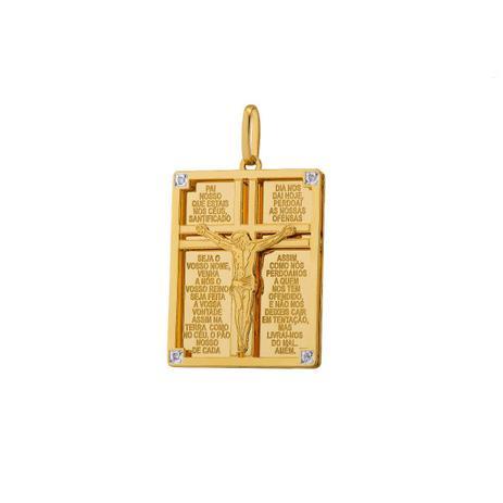 Pingente de Ouro 18k Retangular Cristo com Oração pi18477 - Joiasgold 3f7188f447