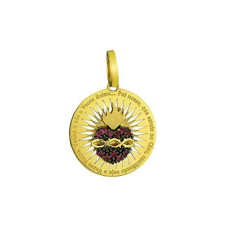 Pingente de Ouro 18k Sagrado Coração de Jesus com Oração pi01439 - Joiasgold 55fa30bde8