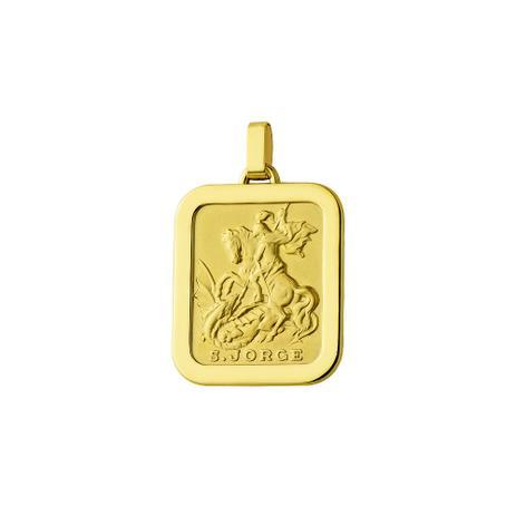 Pingente de Ouro 18k São Jorge Retangular pi18080 - Joiasgold ... 99e4d05a2d