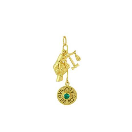 1991bc74514e0 Pingente de Ouro 18k Símbolo Serviço Social pi07517 - Joiasgold ...