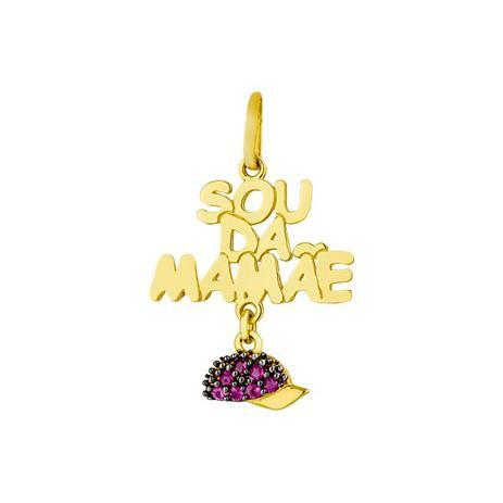 9924b828fd4 Pingente de Ouro 18k Sou da Mamãe com Boné de Rubi pi17499 - Joiasgold